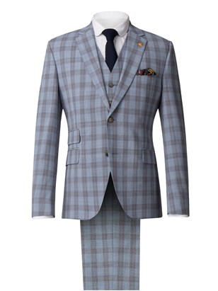 Pale Blue Check Suit