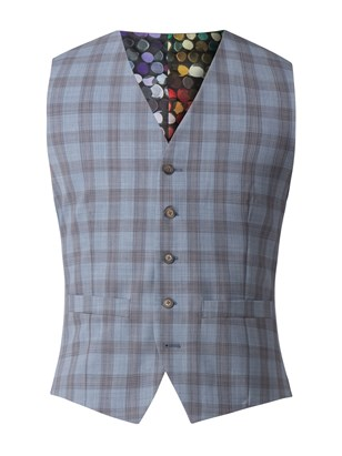 Pale Blue Check Waistcoat