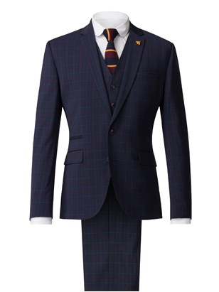 Navy Suit With Soft Red Check