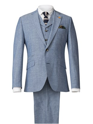 Gibson London Pale Blue Jacket With Linen Flec Pale Blue