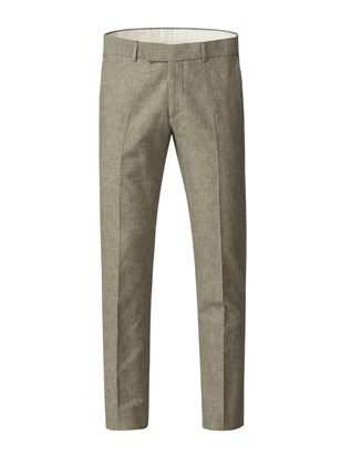 Gibson Green Linen Blend Trousers Green