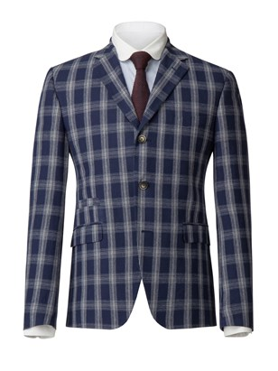 Navy With White Check Jacket