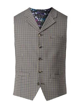 Navy And Olive Gingham Check Waistcoat