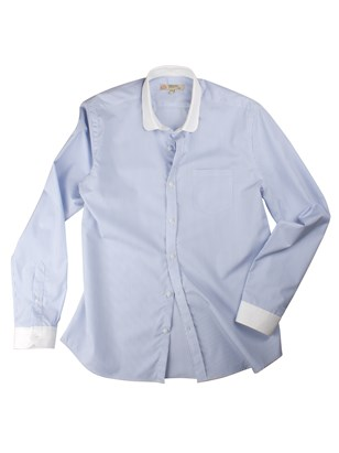 Blue And White Stripe Penny Round Shirt
