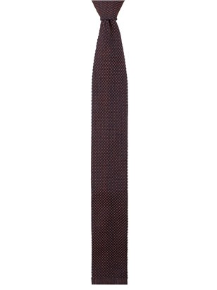 Navy and Brick Red Textured Knitted Tie