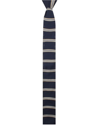Navy and Stone Striped Knitted Tie