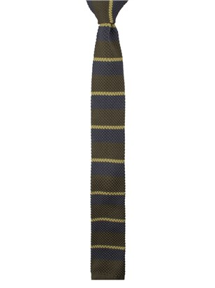 Green Striped Knitted Tie