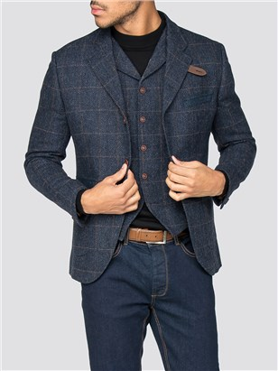 Gibson Maryleborne Blue Check Grouse Jacket Navy