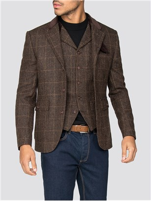 Gibson Soho Brown Check Grouse Jacket Brown