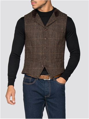 Gibson Soho Brown Check Waistcoat Brown