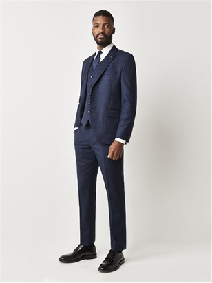 Navy Blue Check Suit