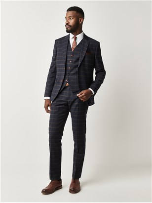 Navy and Coffee Check Suit