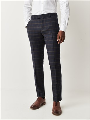 Navy and Coffee Check Trousers
