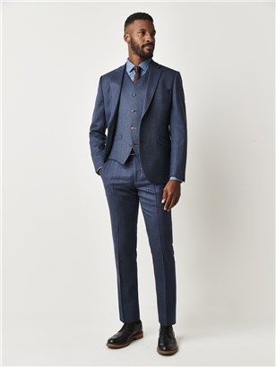 Blue Herringbone Suit