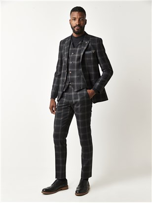 Charcoal Tartan Check Suit