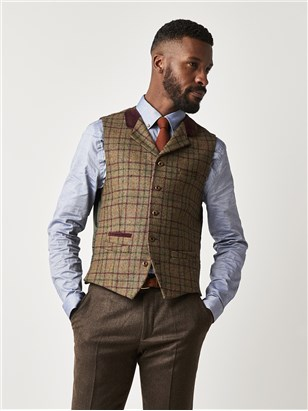 Gibson Green and Burgundy Check Slim Fit Waistcoat Sage
