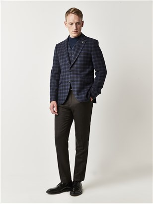 Gibson Blue Checked Tailored Fit Suit Jacket Blue
