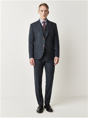 Gibson Carnaby Classic Blue Stripe Slim Fit Suit Blue