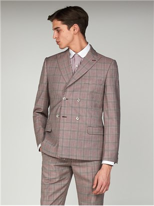 Gibson Bermondsey Pink Check Double Breasted Slim Fit Suit Pink