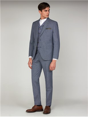 Brassey Blue Micro Checked Slim Fit Suit Jacket Navy