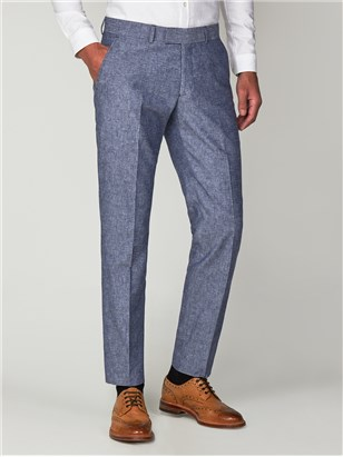Gibson Dark Blue Linen Suit Trousers Dark Blue