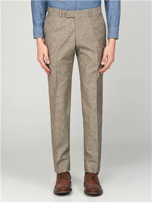 Gibson London Stone Linen Suit Trousers Stone