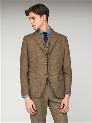 The Bakerloo Special Mens Tailored Fit Checked Grouse Jacket Fawn
