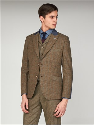 The Bakerloo Special Mens Towergate Checked Suit Jacket Fawn