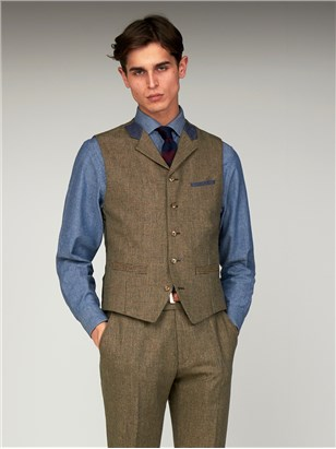 Gibson Bakerloo Special Mens Puppytooth Slim Fit Tyburn Waistcoat Fawn
