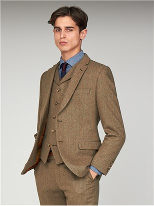 The Pimlico Mens Brown Herringbone Suit Jacket Fawn