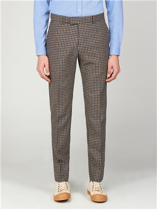 Suits & Formal Wear The Regent St Mens Gingham Slim Fit Trousers Brown