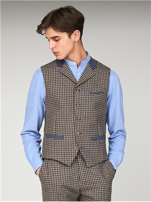 Suits & Formal Wear The Regent St Mens Gingham Tyburn Waistcoat Brown