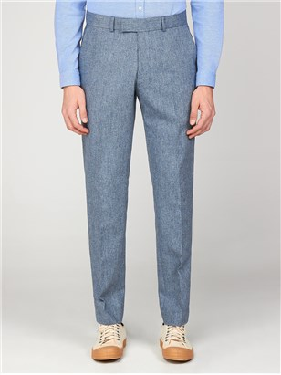 Gibson Bayswater Blue Tweed Mens Slim Fit Radisson Trousers Pale Blue
