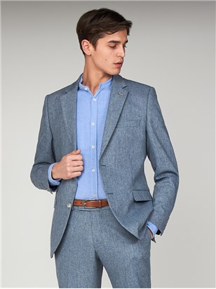 The Bayswater Blue Tweed Mens Towergate Slim Fit Suit Jacket Pale Blue