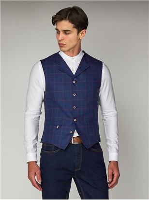 Gibson Blue Linen Checked Slim Fit Waistcoat Blue