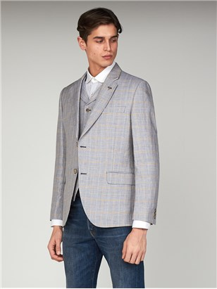 Fiennes Pale Blue Linen Checked Slim Fit Jacket Pale Blue