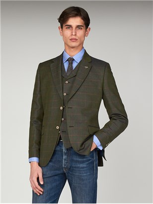 Cubitt Mens Green Check Linen Tailor Fit Jacket Green