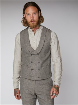 Regent St Puppytooth Double Breasted Waistcoat Slate