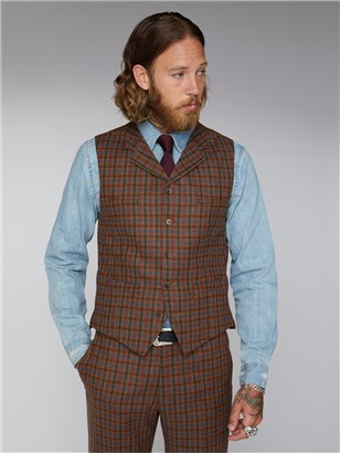 Gibson Tan Teal and Orange Check Waistcoat Tan