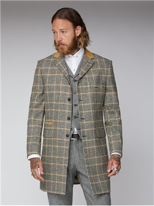 Gibson London Allaire Black Gold and Ecru Checked Overcoat Gold