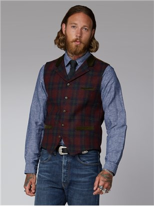 Gibson Red Green Tartan Check Waistcoat Red