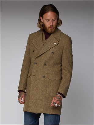 Gibson London Stroudley Gold and Taupe Herringbone Overcoat Gold