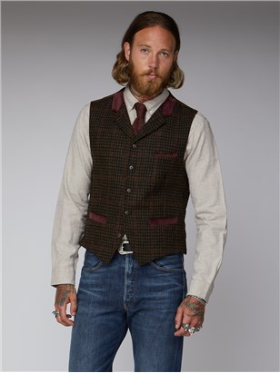 Gibson Deeley Brown Dogtooth with Red Check Waistcoat Brown