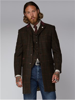 Gibson London Deeley Brown Dogtooth and Red Checked Overcoat Brown