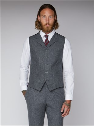 Gibson Essentials Grey Tweed Slim Fit Tyburn Waistcoat Gunmetal