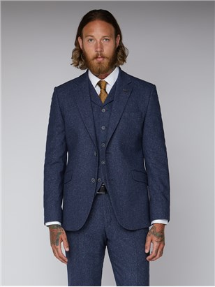 Gibson Essentials Blue Tweed Slim Fit Suit Jacket Blue