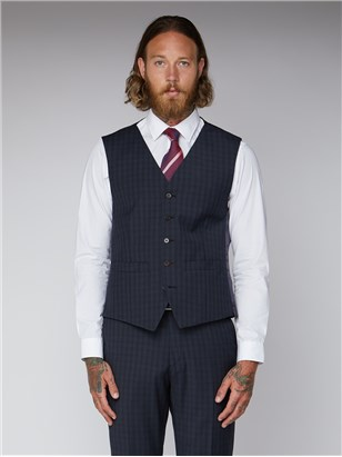 Gibson Essentials Blue Checked Tailored Fit Lambeth Waistcoat Blue
