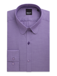 Lilac Shirt With Penny Round Collar