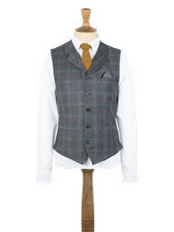 Grey with Teal Overcheck Waistcoat