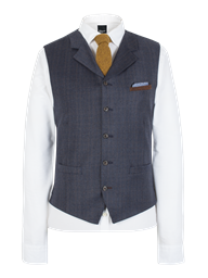 Dark Blue Flannel Waistcoat With Tan Overcheck